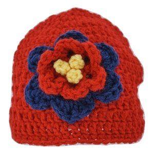🆕Hand-Crocheted Red Flower Beanie